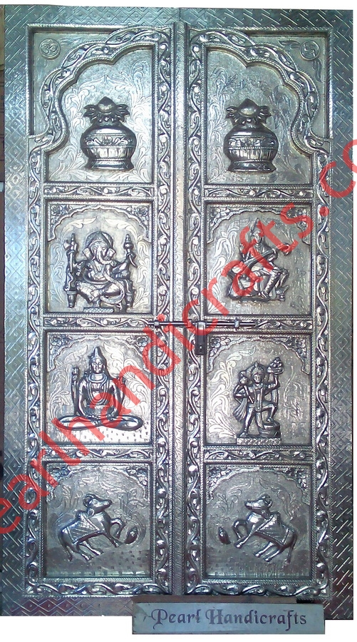 Silver White Metal Temple Door Designs For Home Pearl Handicrafts