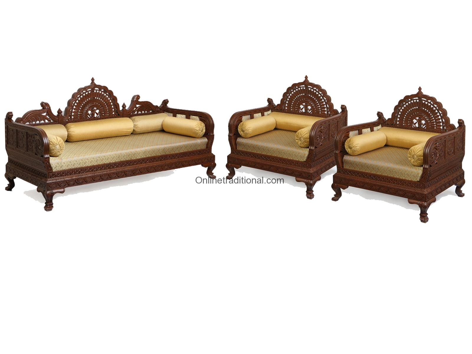 Design Carving Teak Wooden Maharaja Sofa Sets Pearl Handicrafts