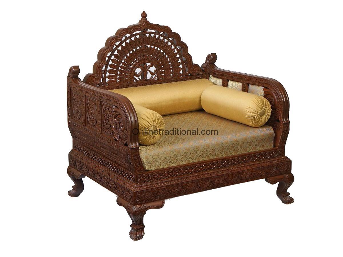 Design Carving Teak Wooden Maharaja Sofa Sets Pearl