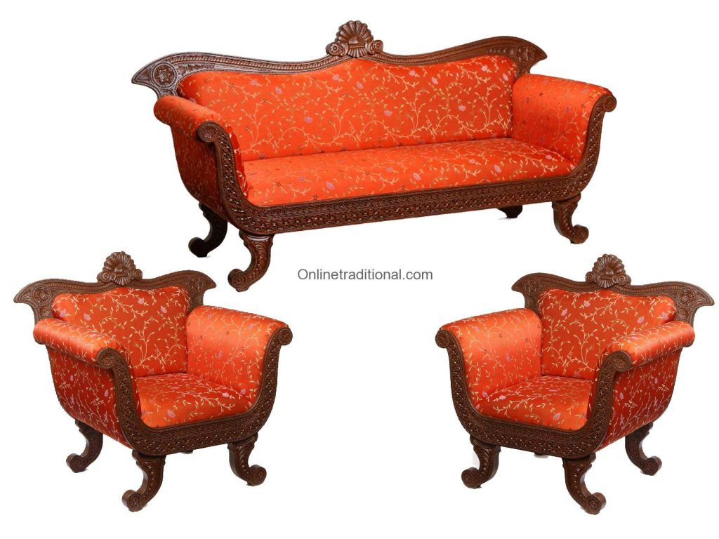 Teak Wood Sofa ~ Order unique teak wood sofa set online at pearlhandicrafts