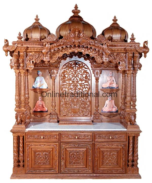 Teak Temple Pooja Mandir For Home Pearl Handicrafts