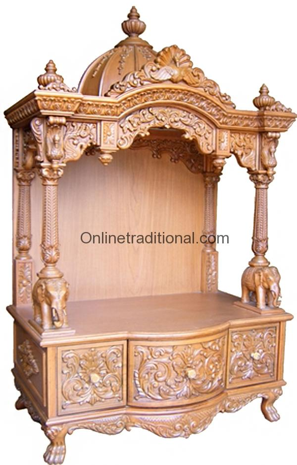 c6278ce1949 Cabinet Crafted Teak Wood Pooja Mandir Temple for Home
