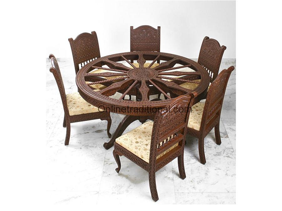 circular shape teak wooden dining table for home pearl handicrafts. Black Bedroom Furniture Sets. Home Design Ideas