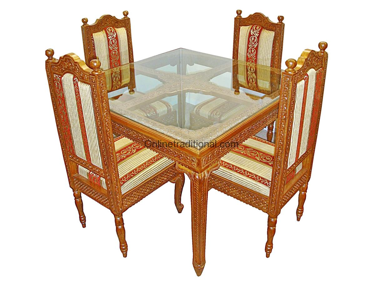 4 Four Chairs Seater Wooden Square Teak Dining Table Sets