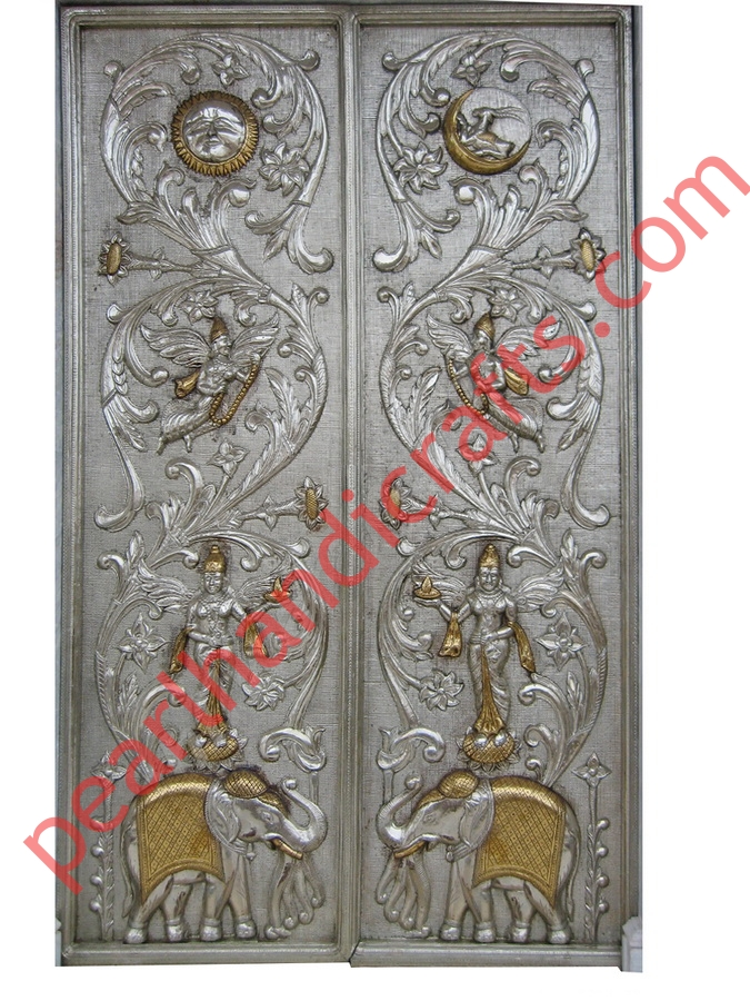 lightbox  sc 1 st  Pearl Handicrafts & Wooden Crafted Doors with White Metal / Silver Sheet for Temple ...
