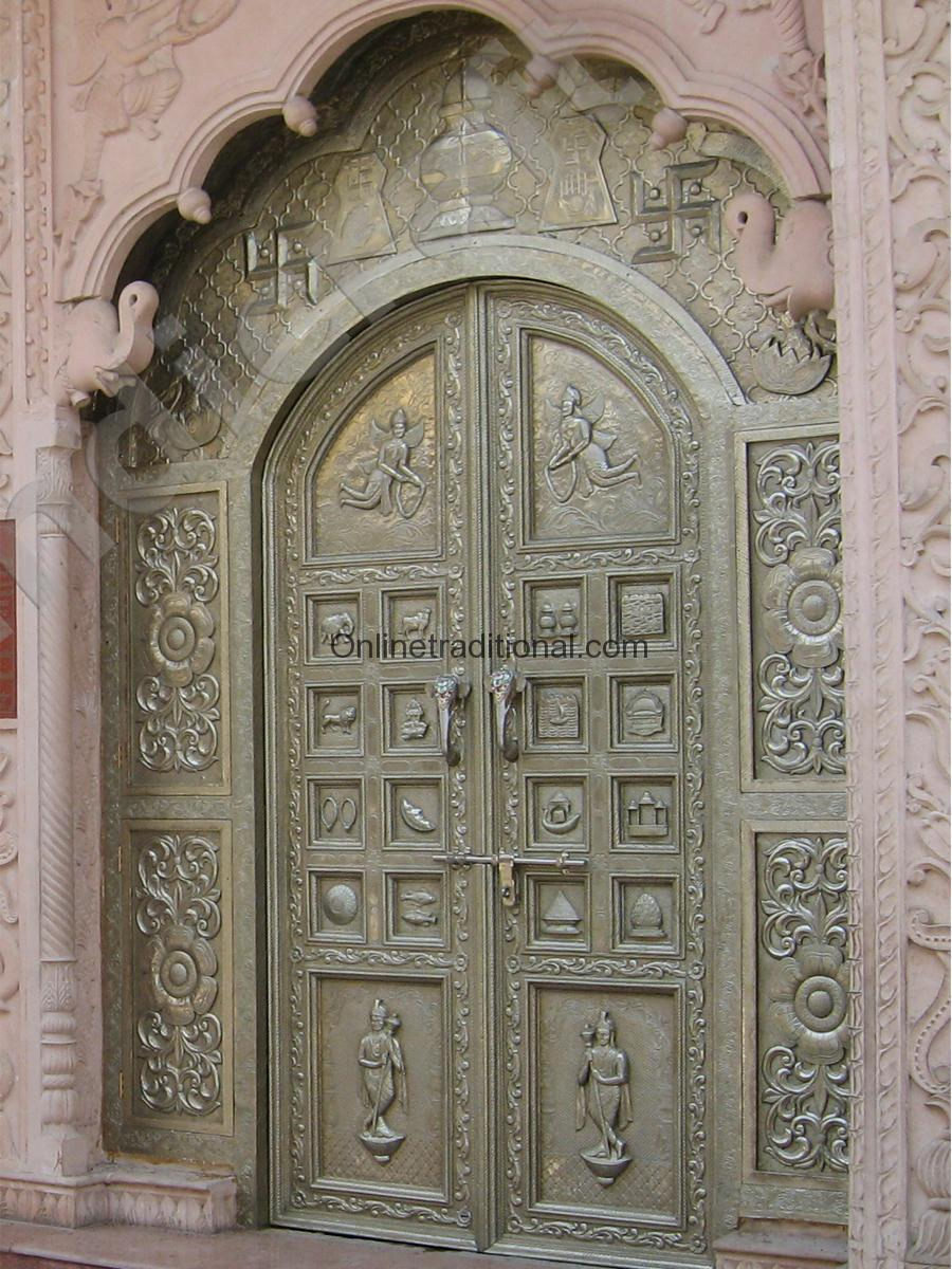 Silver metal brass mounted temple doors with matching