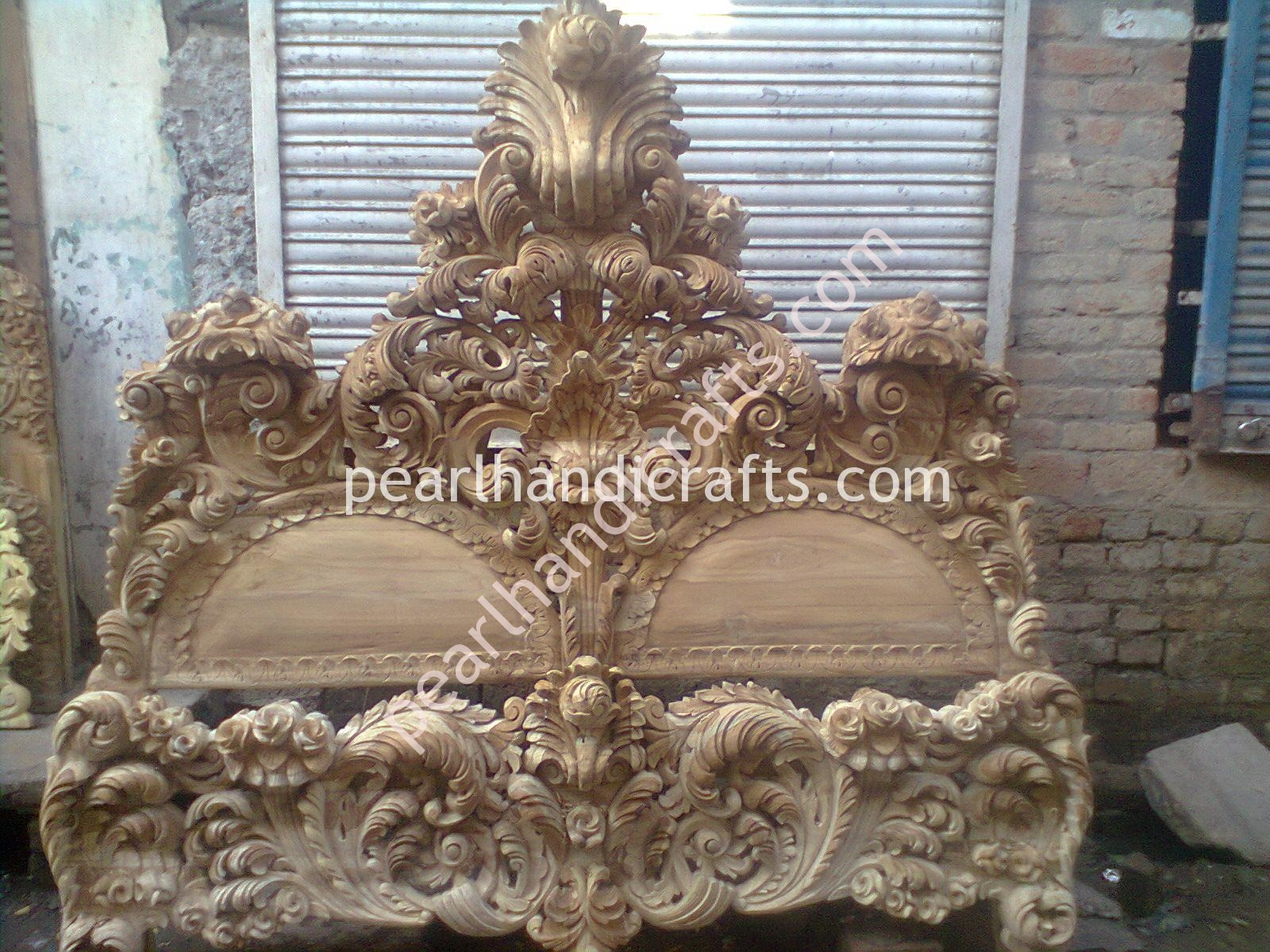 Indian wooden double bed designs double layer bed pearl handicrafts