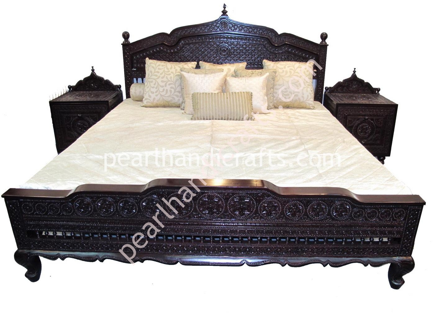 Solid teak wood bed with matching carved foot board