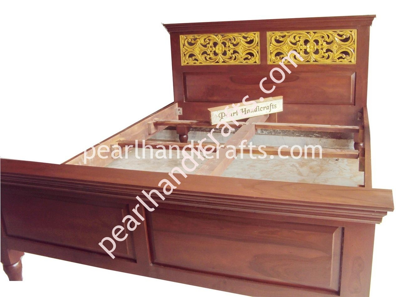 Hand carved indian bed rosewood furniture for home