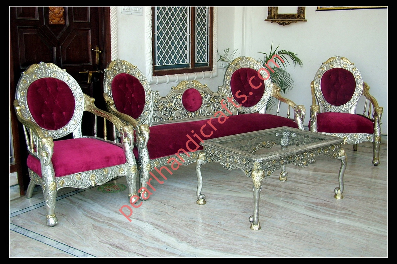 Fabulous Silver Metal Carved Wood Sofa Set For Home Pearl Handicrafts Pdpeps Interior Chair Design Pdpepsorg