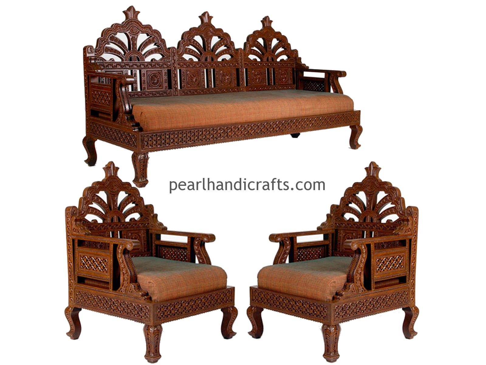 Carving Circular Rajasthani Traditional Teak Wood Sofa Set Pearl