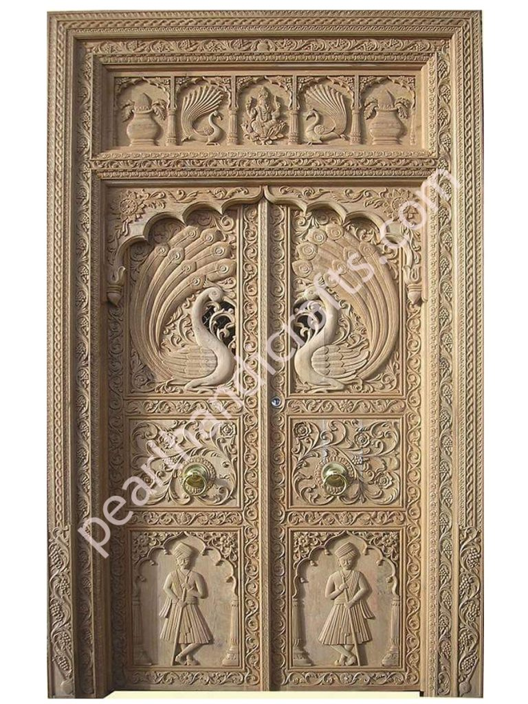 Doors Design: Peacocks Design Wooden Double Doors For Home