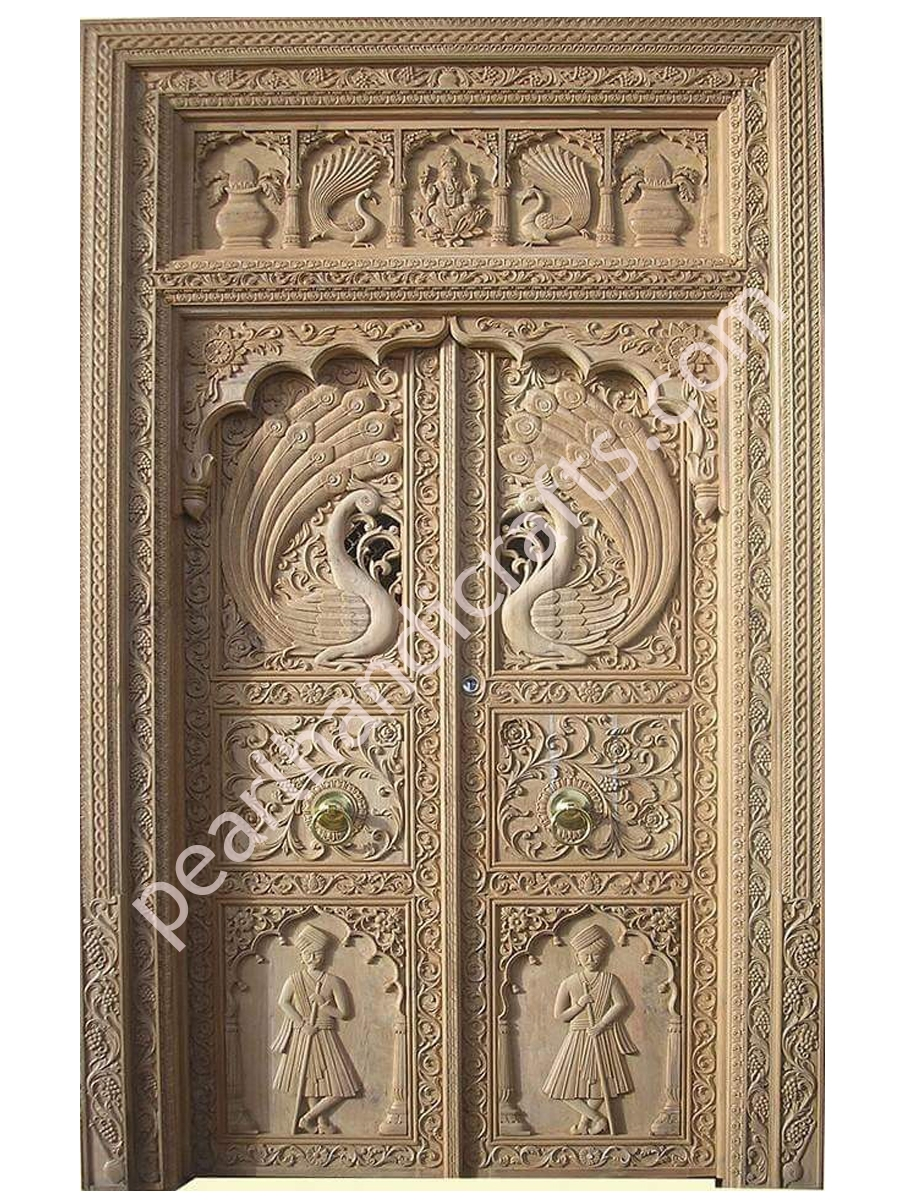 Peacocks design wooden double doors for home for Double door wooden door