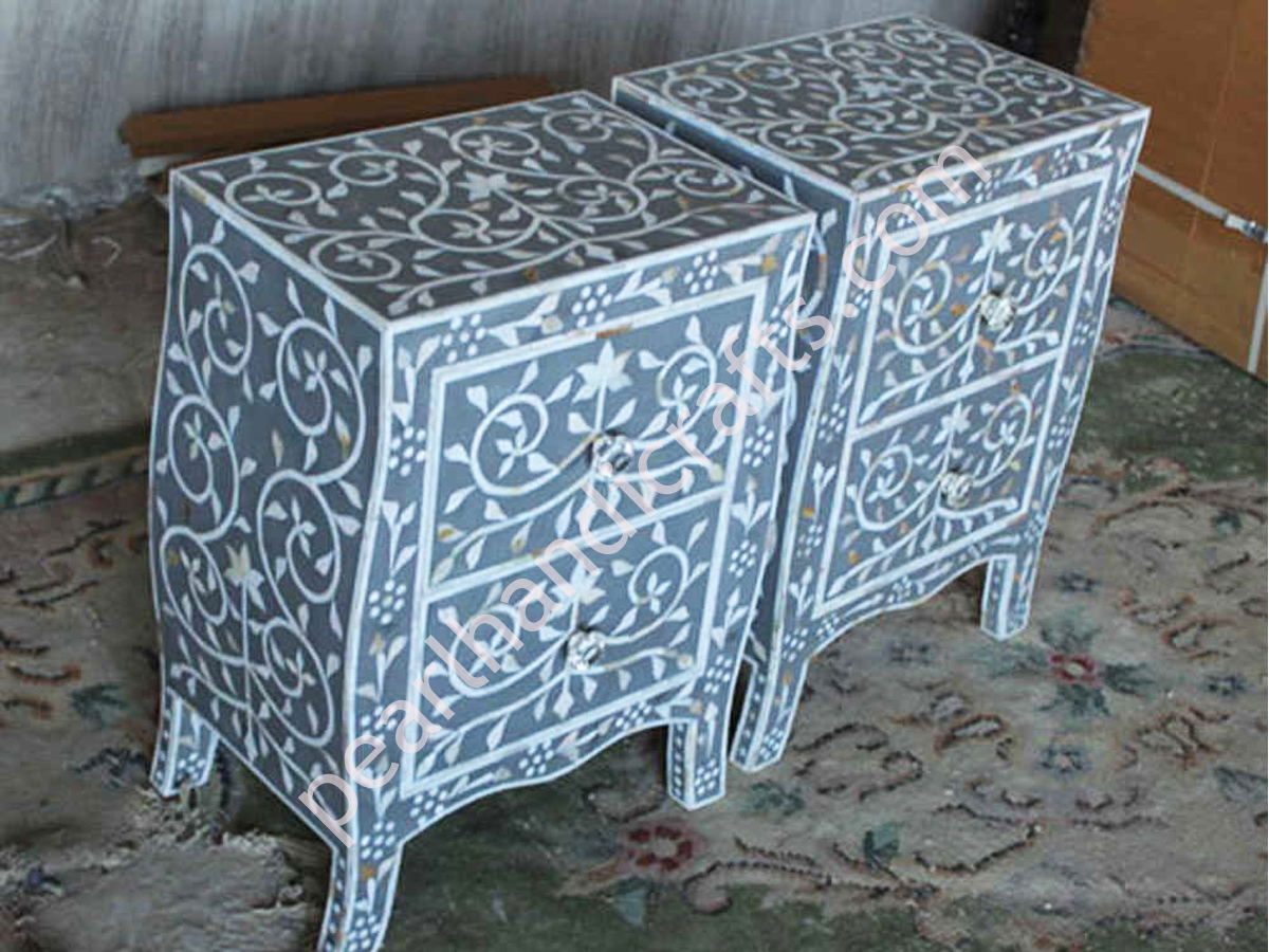 Bone Inlay Night Stand Drawers Mother Of Pearl Inlay